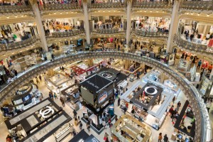 People shopping in famous luxury Lafayette department store in Paris, France