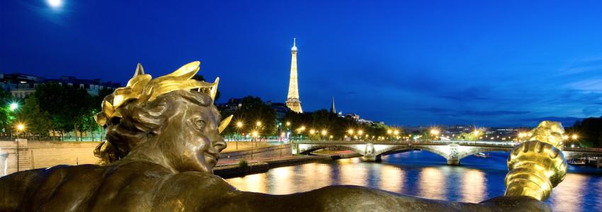 Alexander 3 Bridge at Night With Eiffel Tower