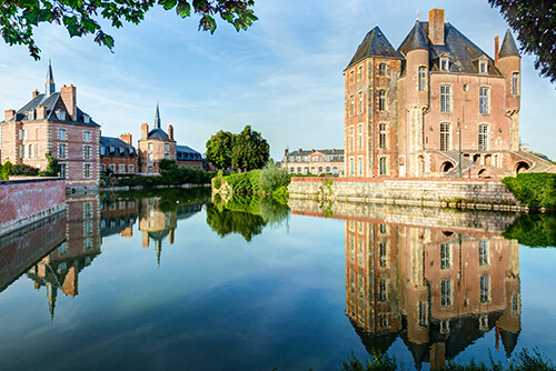 Castle on the lake in the Loire Valley in France